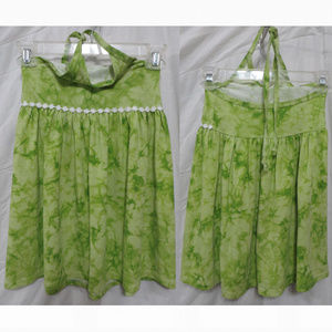 Little Lass dress 6X green tie dye subtle sparkle